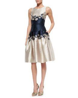 Carolina Herrera Sleeveless Two-Tone Dress W/ Daisies