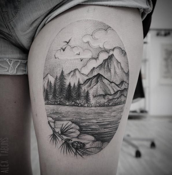 Dotwork Landscape by Alex Tabuns