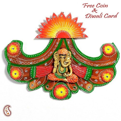 Sun design wood and clay Ganesh Wall Art - Online Shopping for Diwali Pooja Accessories by Apno Rajasthan
