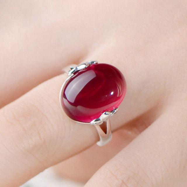 Big oval pedra anéis para mulheres de prata banhado a liga abrir ajustável feminino festa de casamento noivado anel de dedo moda jóias