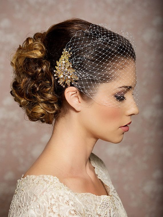 Bridal Veil and Gold Bridal Comb, Bandeau Birdcage Veil, Gold Blusher Bird Cage Veil - READY TO SHIP - Gold Rhinestone Fascinator Comb