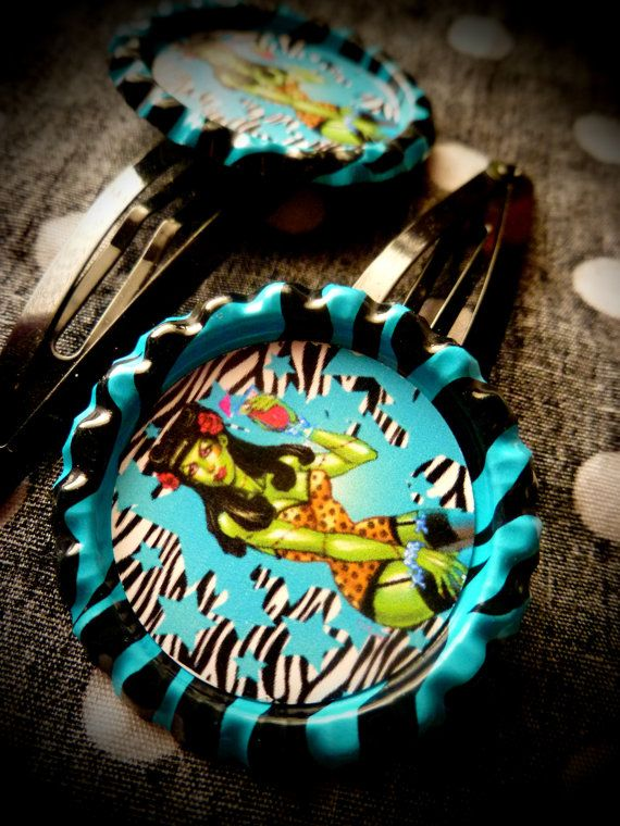 Rockabilly Zombie hair clips by LttleShopOfHorrors on Etsy, $6.00
