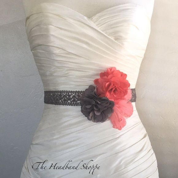 Grey and Coral Lace Ribbon Sash Belt, Weddings Handmade Gray and Coral Bridal Sash. Two fabric flowers on lace sash with a black peacock accent feather. BridalShoppe Accessories Belts