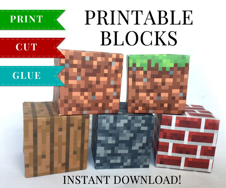 This set of Minecraft Printable Papercraft Blocks include Grass Block, Dirt Block, Wood Block, Stone Block and Brick Block. These have so many uses and kids absolutely love them!
