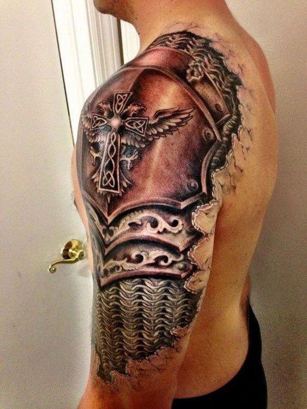 Gladiator Armor Half Sleeve Shoulder Tattoo.