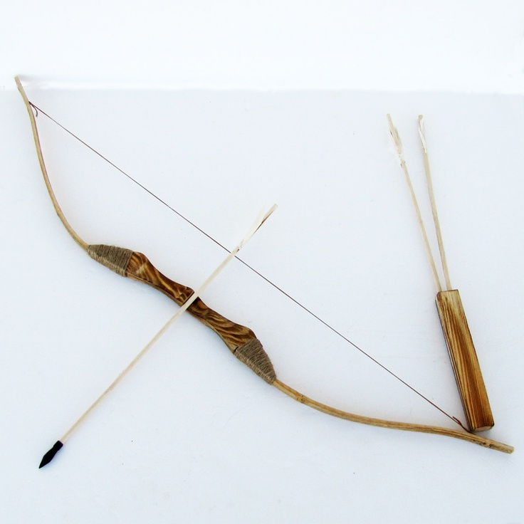 WOODEN BOW AND ARROW w QUIVER set 3 PACK ARROWS wood youth archery hunting toy | eBay
