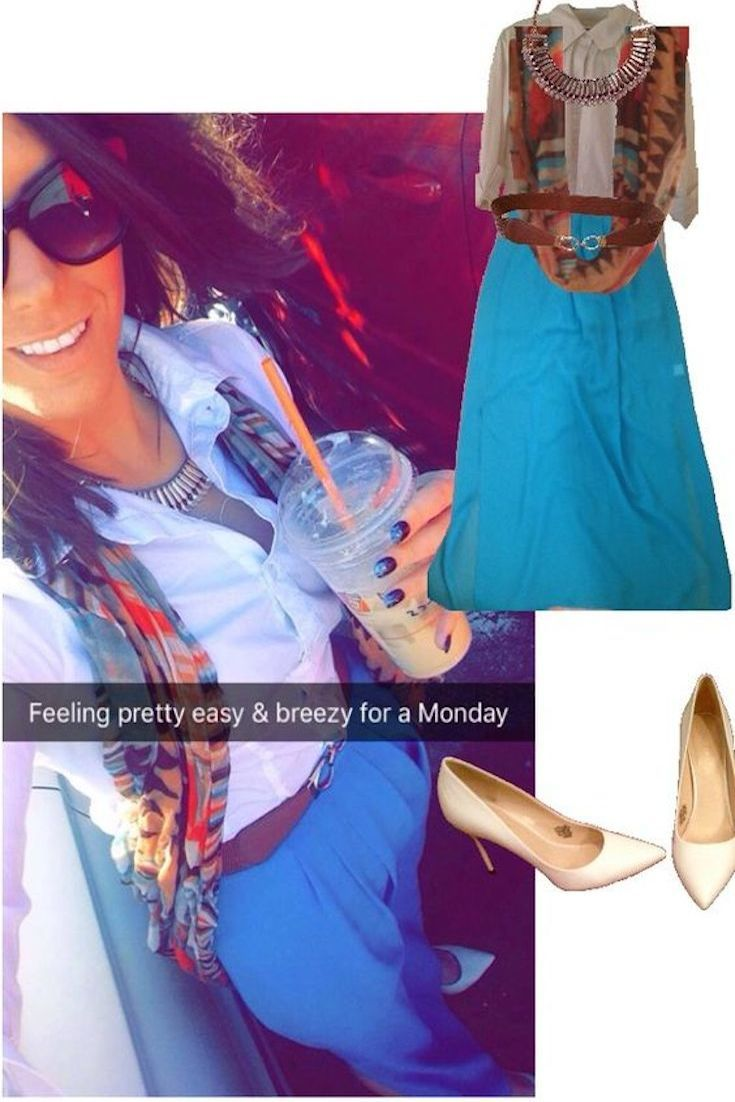 "Winter Outfit Idea (what I wore October 24, 2016): Paired fun fall brights like blue, orange, and burnt browns with a breezy-blue maxi skirt, a white button down, & aztec print scarf! For more outfit ideas, follow and re-pin from my board ""Bostonian Styled (by Katey)"" at https://www.pinterest.com/kmt649/bostonian-styled-by-katey/"
