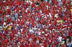 Costa Rica Fans paint the stadium red!