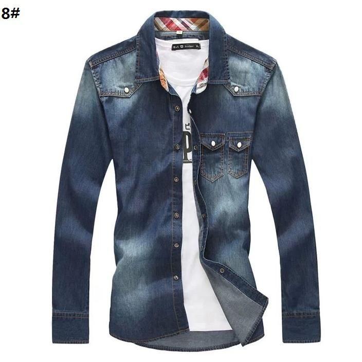Men's  Good  Quality  100%  Cotton  Denim Shirt  Men , Men  Big  Size   SIZE  Long  Sleeve  Jean Shirt  ,ASIAN SIZE S-4XL ,G1003