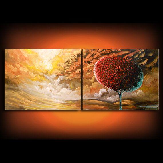 Original Gemälde Lutscher Baum Kunst abstrakte Acrylbild Landschaft Wand Kunst bunte Acryl  Titel: Wave  22 x 56 x.1.5 dicken original abstrakte Acrylbild auf zwei 22 x 28 x 1,5 Galerie gewickelt gestreckten Leinwände.  Alle Stücke kommen mit Leinwand Seiten schwarz lackiert.  Dies ist ein ein-von-a-Kind, original-Gemälde. Jedes Stück in meinem Shop ist 100 % handgemalt von mir (Matthew Hamblen) von Anfang bis Ende.  Müssen Sie unbedingt sehen, um zu schätzen. Viele Kunden sagen, dass ihre…