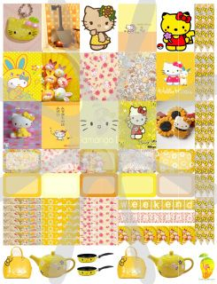 Hello Kitty™ Yellow planner stickers that are made to print out onto one 8 1/2X11 sticker paper, cut to size for your personal Mambi Happy Planner™/Erin Condren™ & Plum™ sized and type planners. Add to your cart now and just check out. You will not be charged for this download!  In printable HQ PDF format (image poor quality for visual only). Water marks removed during print. Created by Staff Artist Angel Koch.  See terms and Use.    Mambi Happy Planner™/Erin Condren™,  & Plum™, Hell...