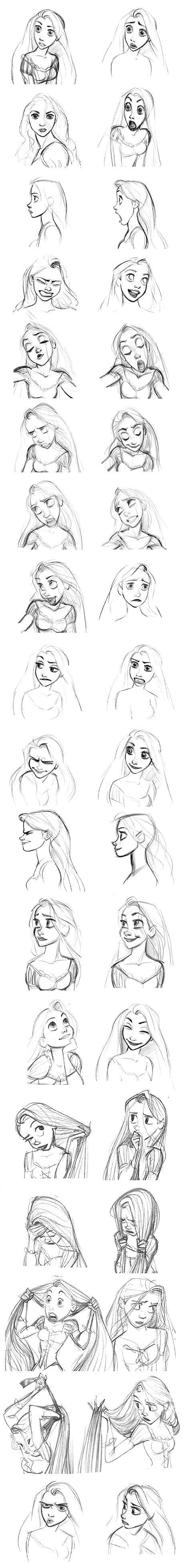 "Disney art tutorial; facial expressions drawing reference // ""Rapunzel (Tangled)"" Expressions 