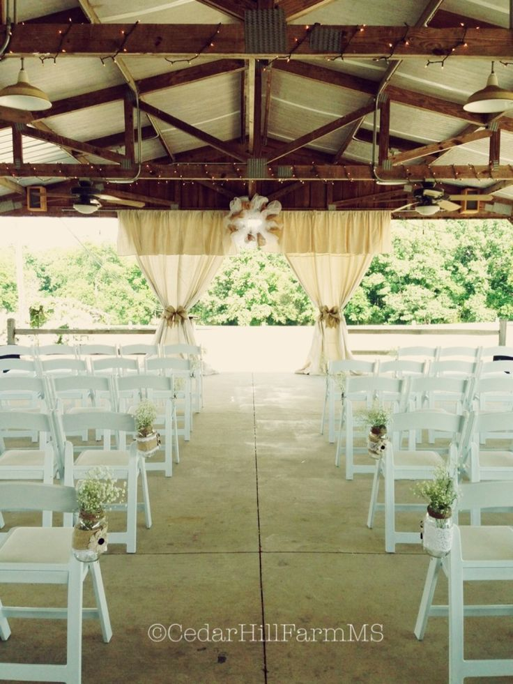 Outdoor pavilion wedding set-up - Cedar Hill Farm - Hernando, MS