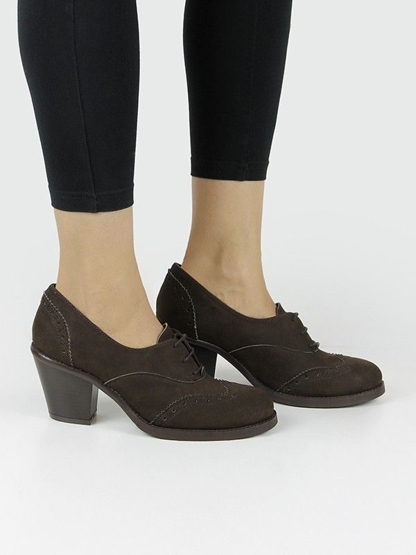 Vegan Vegetarian Non Leather Womens Heeled Brogue Shoes