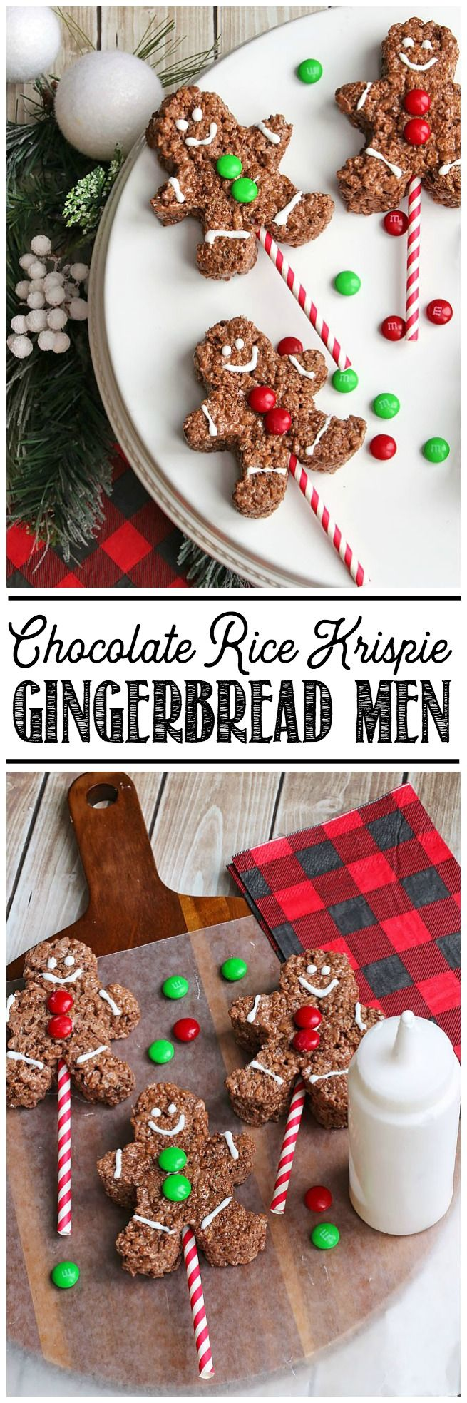 Adorable chocolate Rice Krispie gingerbread men. These would be the hit of any Christmas party!
