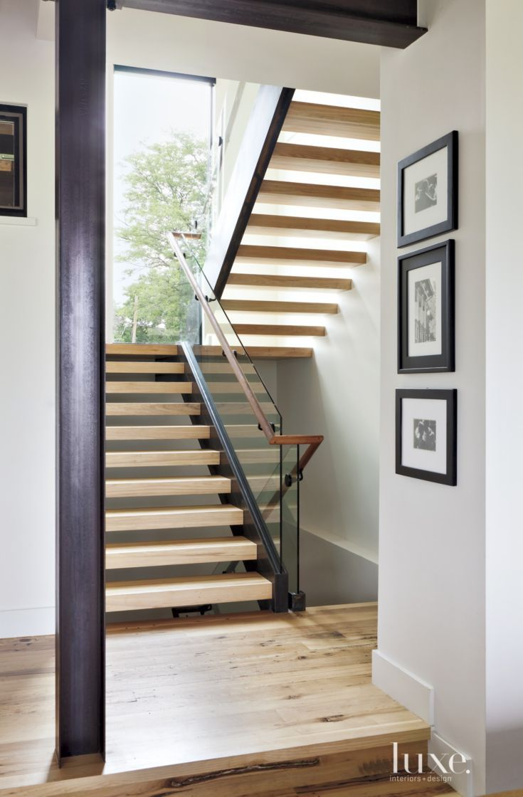 Best Contemporary White Staircase With Hickory Treads Modern 400 x 300