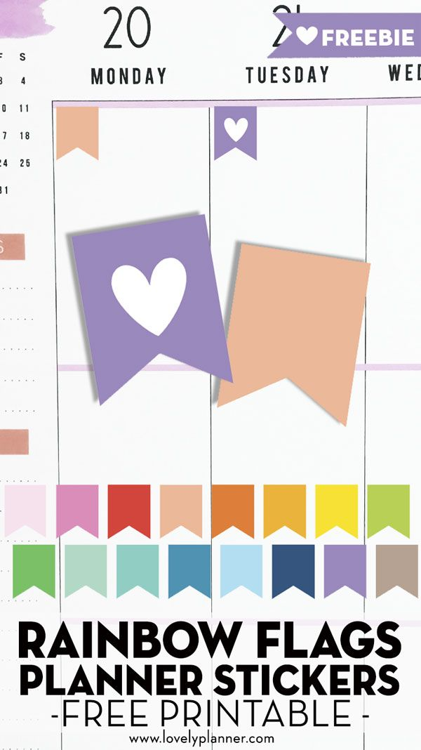 Free Printable Flags Planner Stickers (blank and heart