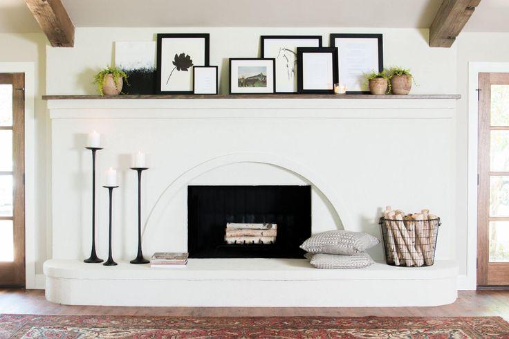 Stucco fireplace.
