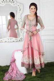 Georgette Party Wear Suit in Pink Colour