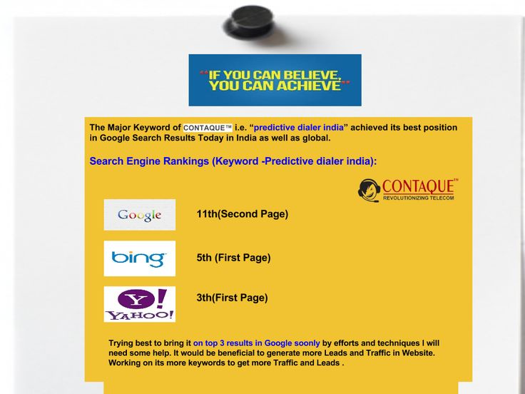"""The keyword """"Predictive dialer india   Predictive dialer"""" of CONTAQUE™ received best positions in Major Search Engines."""