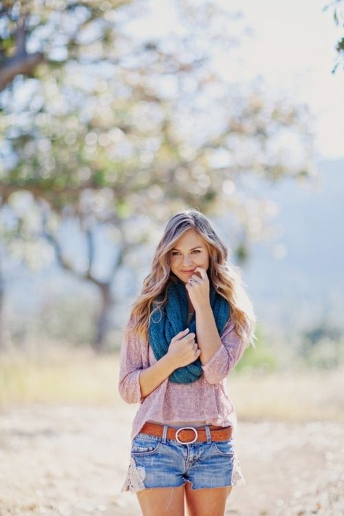 Flowy top, Jean shorts & a scarf... Love this for Spring!