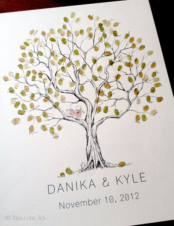 Medium Olive Tree, The original hand-drawn guest book fingerprint tree (ink pads sold separately)