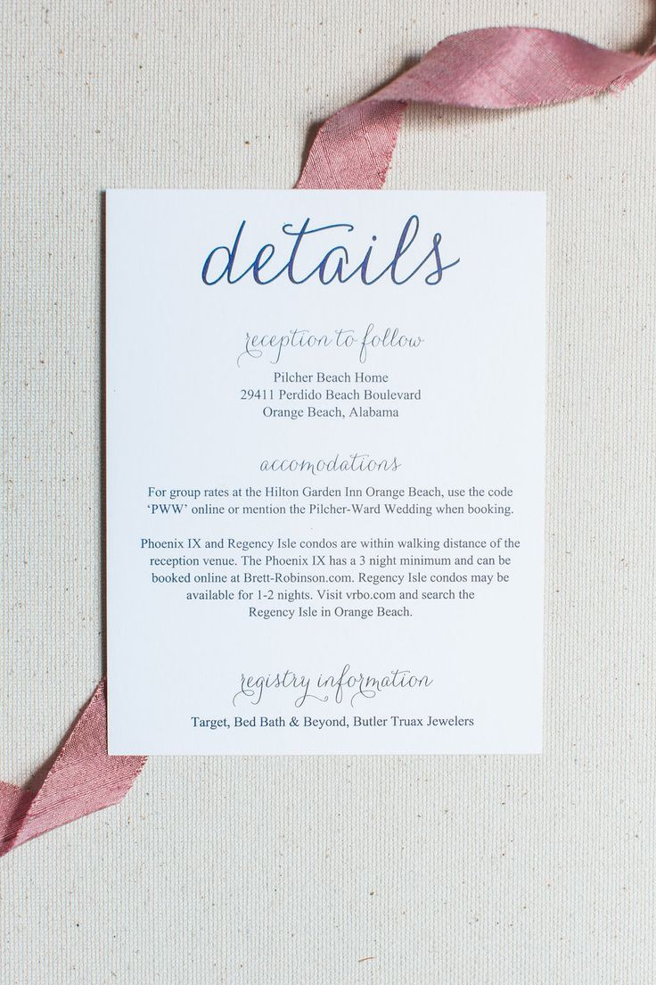 Wedding Invitation Insert Card   Guest Details On Navy