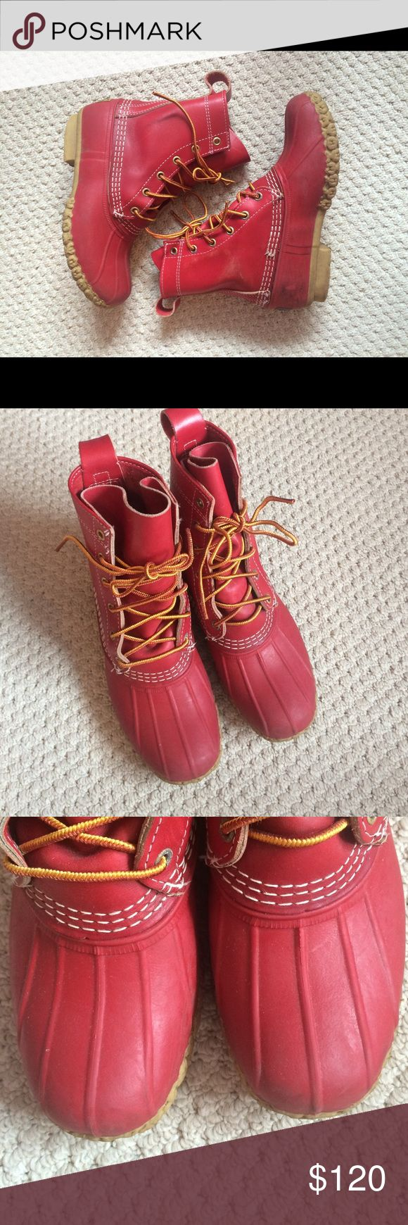 """Rare Red Limited-Edition LL Bean Boots Cute 8"""" duck boots! Worn for 1 season. I'm a size 6.5 and can't keep living a lie. They're a size 6 but could probably fit a size 7.5. LL Bean Shoes Winter & Rain Boots"""