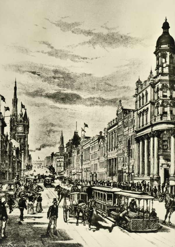 Melbourne - Collins Street, Looking East. Picturesque Atlas of Australasia. LINKS to more images: http://www.oocities.org/toby_meares2/index.html