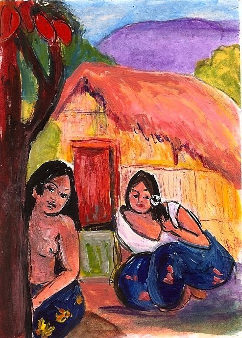ACEO 2 Women & a Hut in the style of Gauguin Tahiti Painting  Penny Lee StewArt #Postimpressionism www.pennyleestewart.com