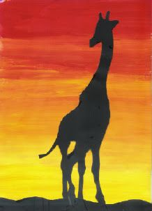 start with yellow and add a little red at a time. use black paper cut outline of animal to add.