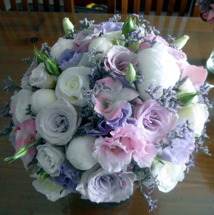Bridal Bouquet- peony roses, lisianthus,white roses,singpore orchids,misty,mini roses