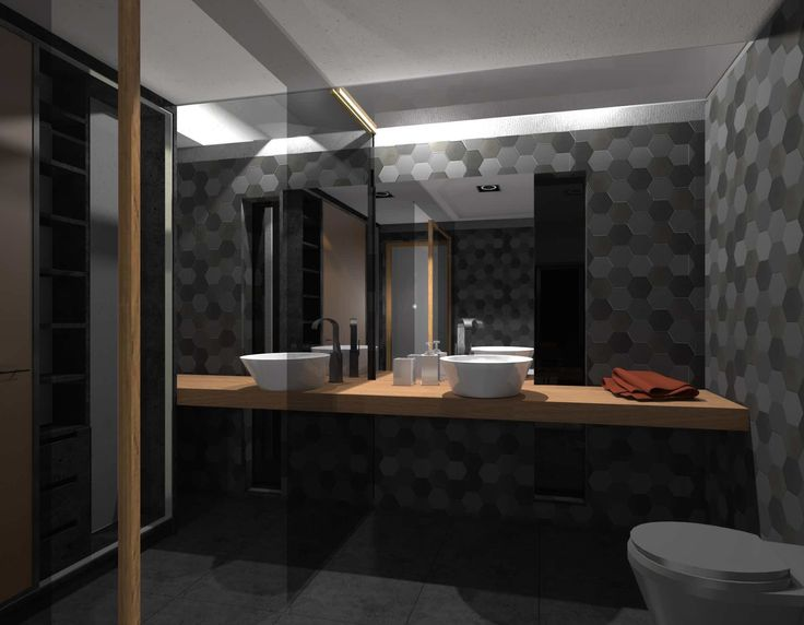 Atmospheric dark bathroom.