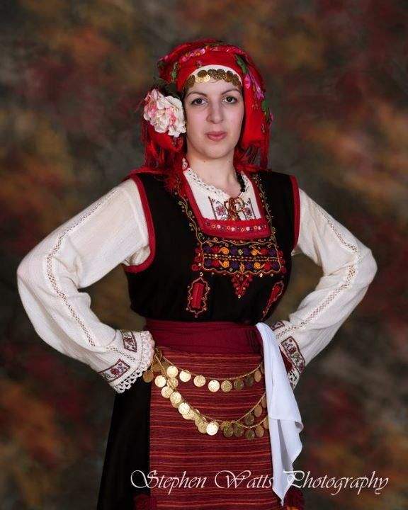 Festive costume of the Metaxades region (Western Thrace, Greece). clothing style: early 20th century.  This is a recent workshop-made copy, as worn by folk dance groups.  (The Greek Lyceum of South Australia in Adelaide).