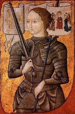 잔 다르크의 초상 - 작가 미상(연도 미상) 잔 다르크가 기독교의 성인으로 묘사된 작품이다. 잔 다르크가 처형된 이후 시간이 흘러 명예회복 재판을 통해 그녀의 무죄가 입증되었으며 펠릭스 주교가 그녀를 성인보다 한 단계 낮은 복자로 추증했다. 그리고 1920년 교황 베네딕투스 15세에 의해 잔 다르크는 성인으로 추증되었다. 오늘날 잔 다르크는 프랑스의 수호 성인 가운데 한 사람이자 걸스카우트, 순교자, 여군, 포로 등의 수호성인이기도 하다.