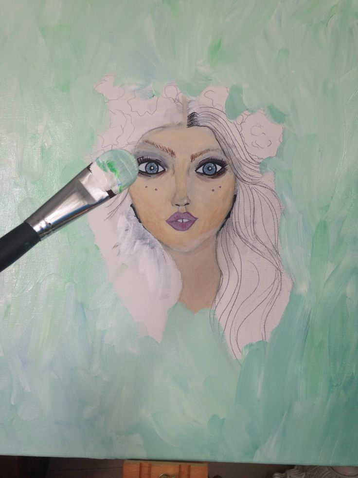 Sneak a peak, one of my paintings that will take forever to finish. It is just my way of doing it. My paintings will never be don't if they're hanging on my walls. There is always something to dot on ;) but this one she has clearly no hair and of course the will be flowers in her hair