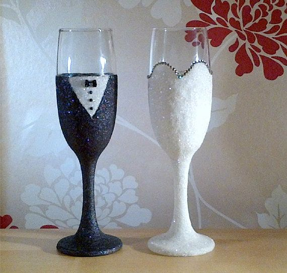The 15 best glitter studio glasses images on pinterest wine wedding mr mrs bride and groom champagne glitter glasses handmade wedding flutes wedding decoration wedding favour bridal junglespirit Images