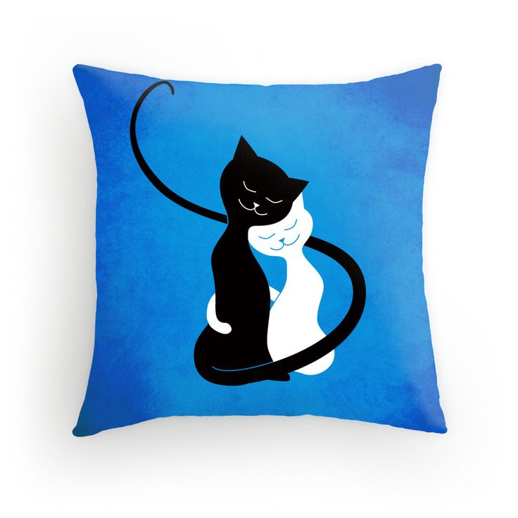 Blue White And Black #Cats In Love throw #Pillow