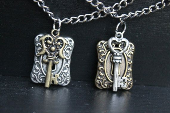 Lock and Key Necklace  Silver or Brass  Key by FUELLJewelry