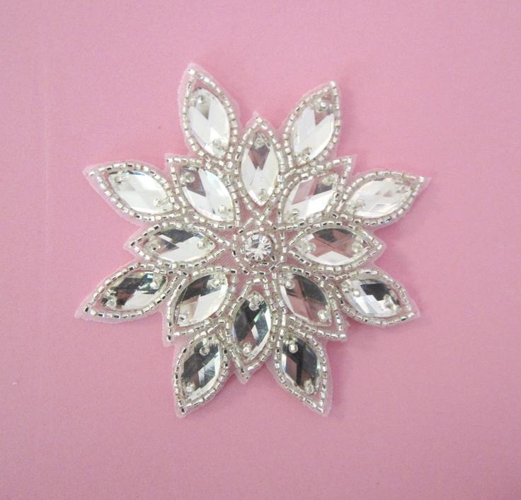 Silver Snowflake Applique with Rhinestone center--1 pc