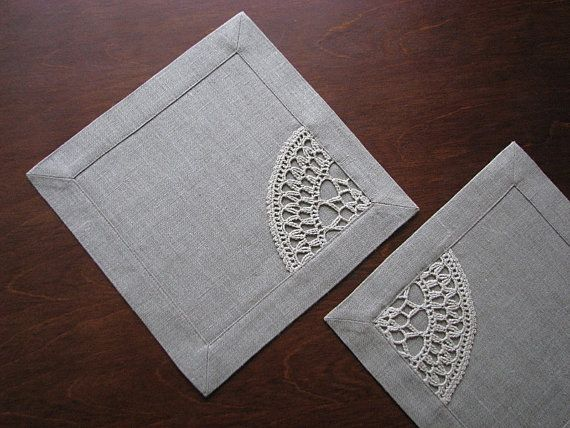 Natural linen table napkins square tablemat table by daiktuteka, $19.00