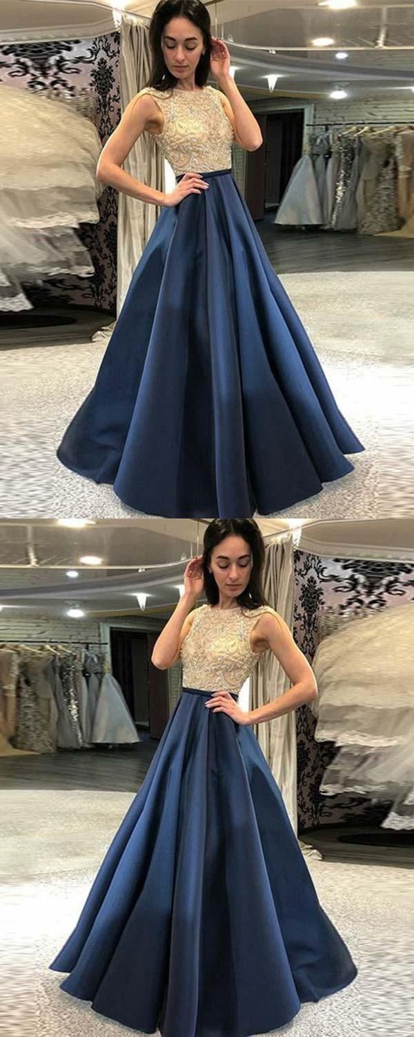 Discount comfortable prom dress aline navy prom dress prom dress