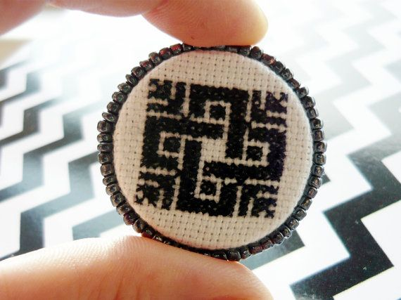 Cross Stitch Brooch Embroidery & Seed bead  Folk  by Spondeo