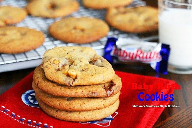Baby Ruth Cookies - Mixing chunks of candy bars into a thick cookie batter make such a tasty treat. How could you go wrong, right? These cookies are buttery, crispy and chewy all in the same bite. They're simple to make and even easier to eat.