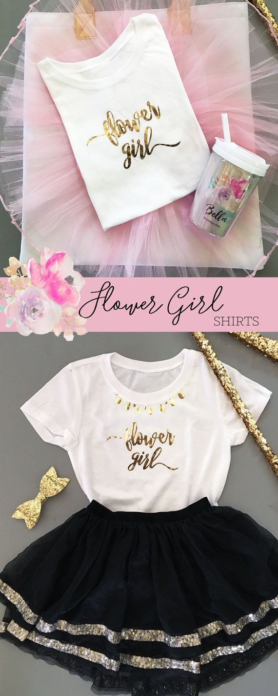 Flower Girl Shirts make a cute gift for your little flower girls! The little ones will love wearing their title around town while shopping for your wedding - pair the shirts with a cute tulle skirt for a unique gift!   ***DETAILS*** ____________________________________________________________________  Listing is for 1 CHILD SIZE T-SHIRT - WHITE with gold foil printed Flower Girl in Script Lettering  CHOOSE to have shirt printed with flower girl only or with faux necklace neckline added…