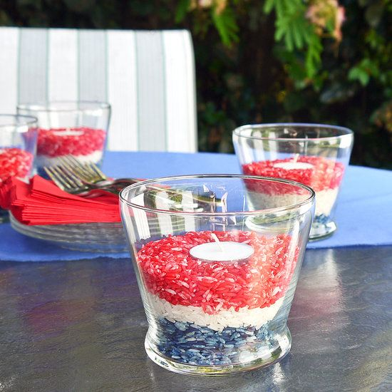 Make these candles holders for outdoor parties and change the color of rice to match your theme. These cute candles repel bugs, too!