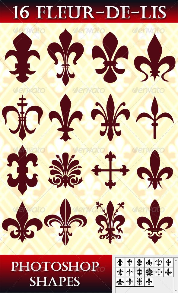 16 Photoshop Fleur-de-lis Shapes. Single user purchase fee $3.00 #fleurdelis
