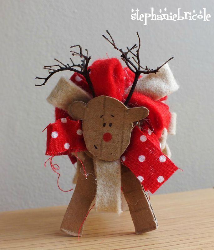 TUTO DIY Noël - Faire un renne rigolo en carton et ruban ... avec les enfants ou pas !!!