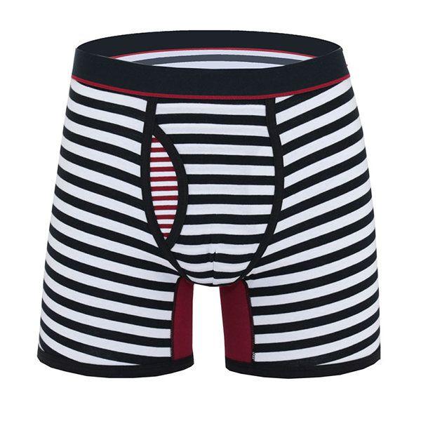 Mens Fashion Stripe Sports Anti-friction Riding Boxers Cotton Underwear - Banggood Mobile