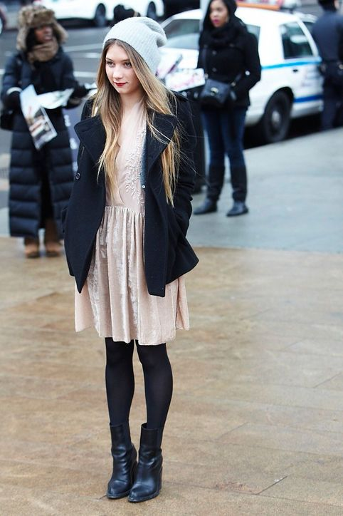 floaty dress with black coat and tights  new boots idea